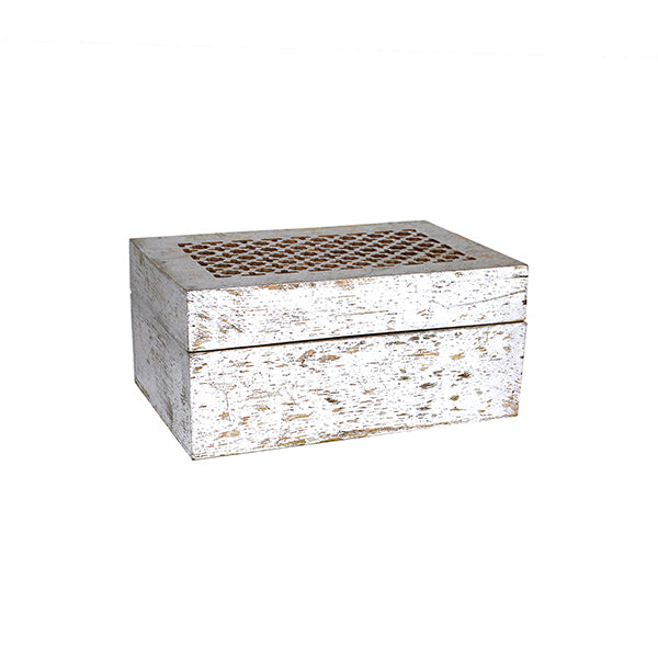 Trellis Box Large in Distressed Silver