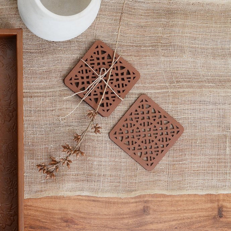 Au Natural Inherent Laser Cut Coaster, Set of 4