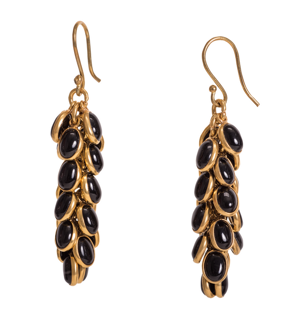 Petals Onyx Earring in Black & Gold