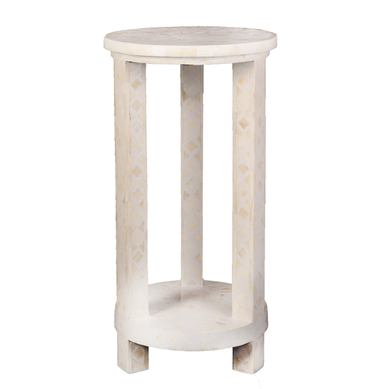 Imperial Beauty Double Shelf Round Accent Table with Bone Inlay - White