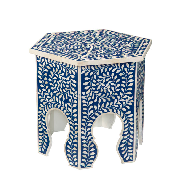 Imperial Beauty Moroccan Accent Table with Bone Inlay in Indigo & White