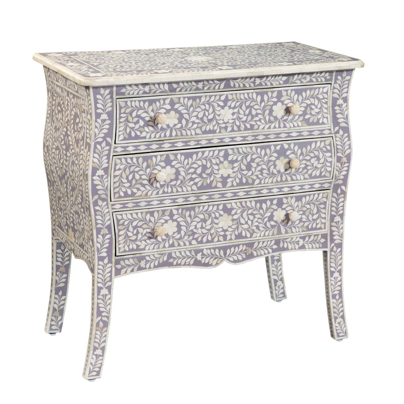 Imperial Beauty 3 Drawer Dresser with Bone Inlay in Lilac and White