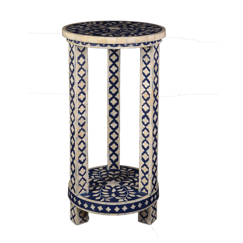 Imperial Beauty Double Shelf Round Accent Table with Bone Inlay - Indigo and White