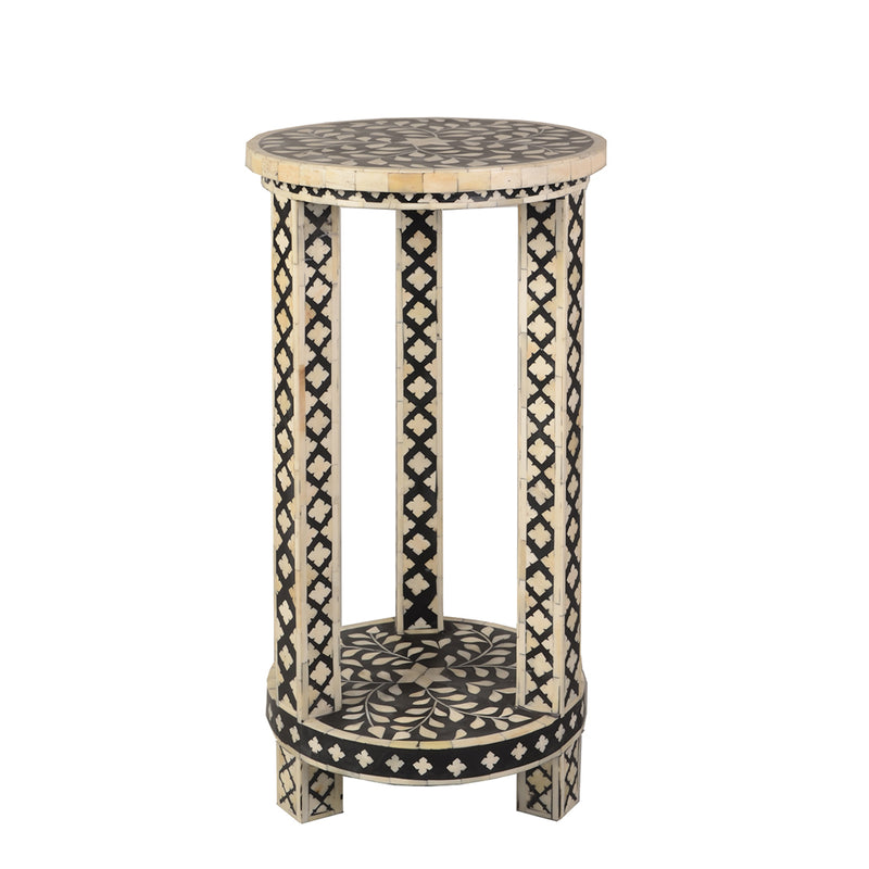 Imperial Beauty Double Shelf Round Accent Table with Bone Inlay - Black and White