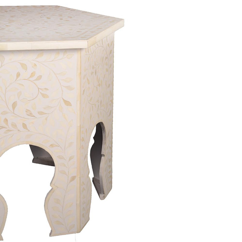 Imperial Beauty Moroccan Accent Table with Bone Inlay in White