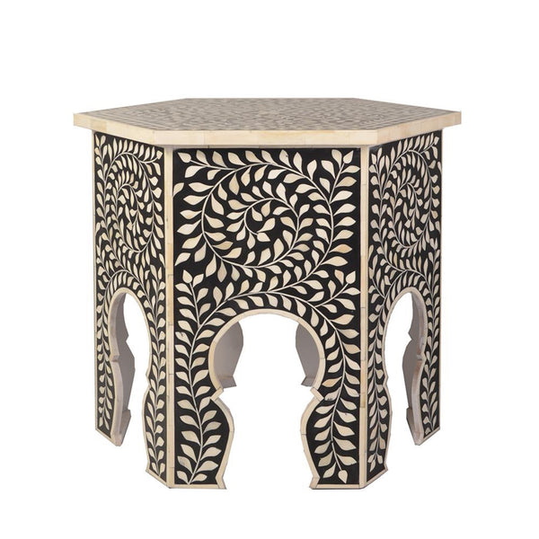 Imperial Beauty Moroccan Accent Table with Bone Inlay in Black & White