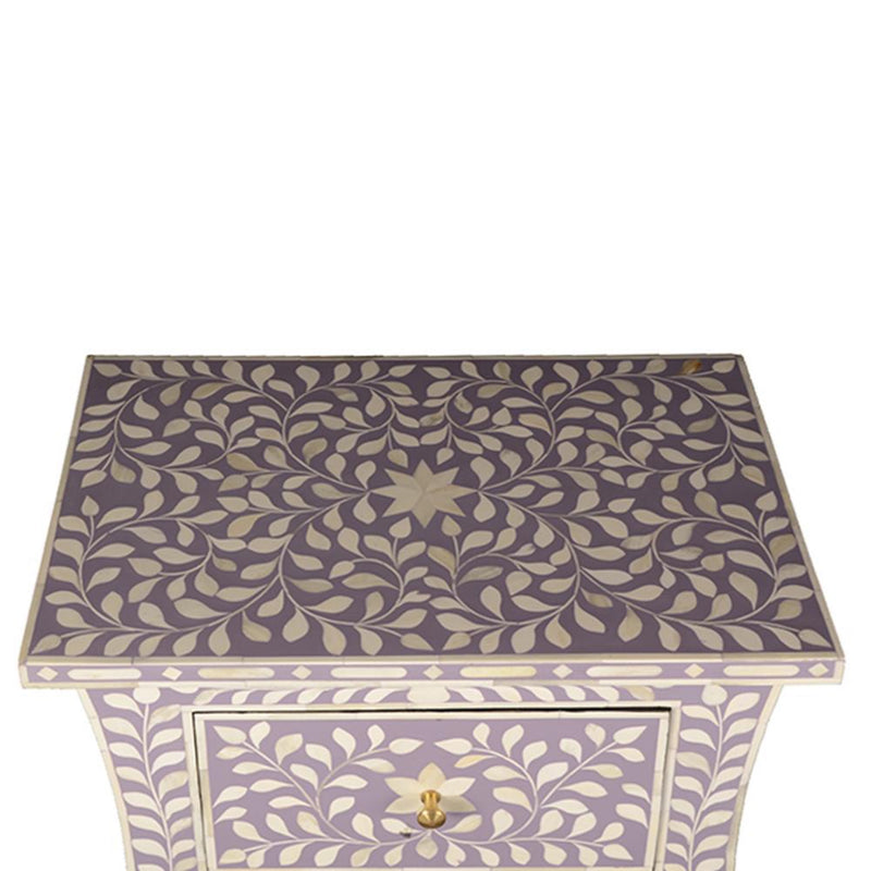 Imperial Beauty 2 Drawer Bedside Table with Bone Inlay in Lilac & White