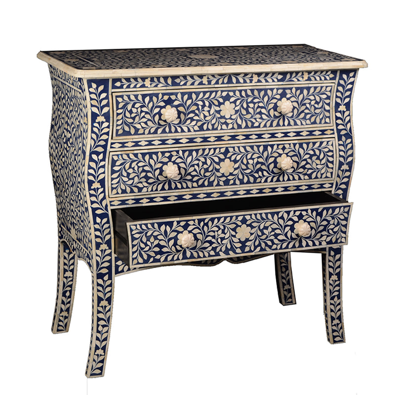 Imperial Beauty 3 Drawer Dresser with Bone Inlay - Indigo and White