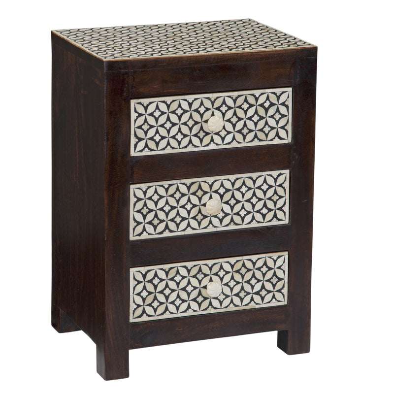Lily Wooden Bedside Table with 3 Bone Inlay Drawers & Top in Black & White