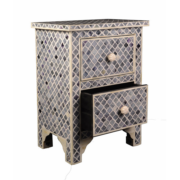 Fantasy Beauty 2 Drawer Bedside Table with Bone Inlay in Gray & White