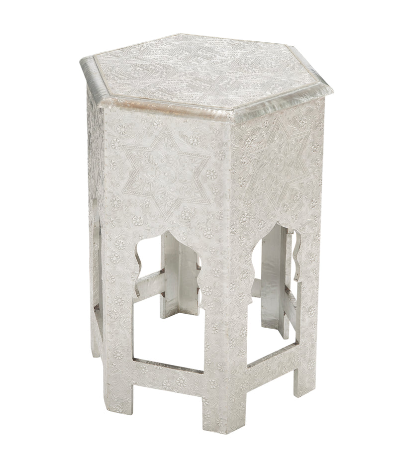 Medallion Moroccan Accent Table w/Metal Cladding - Silver