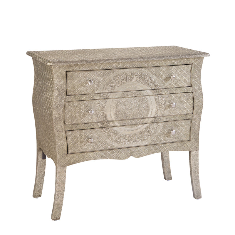 Medallion Three Drawer Wood Dresser with Metal Cladding in Silver