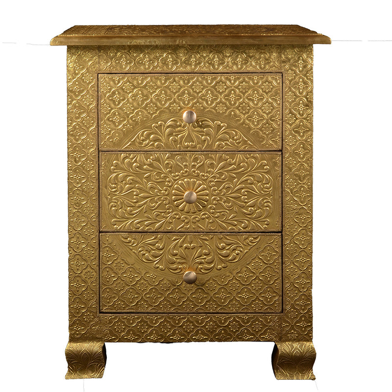 Medallion Three Drawer Bedside Table with Metal Cladding - Gold
