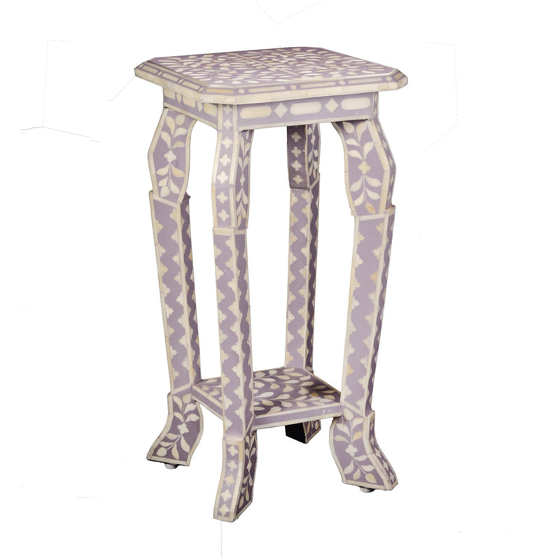 Imperial Beauty Telephone Table with Bone Inlay in Lilac & White