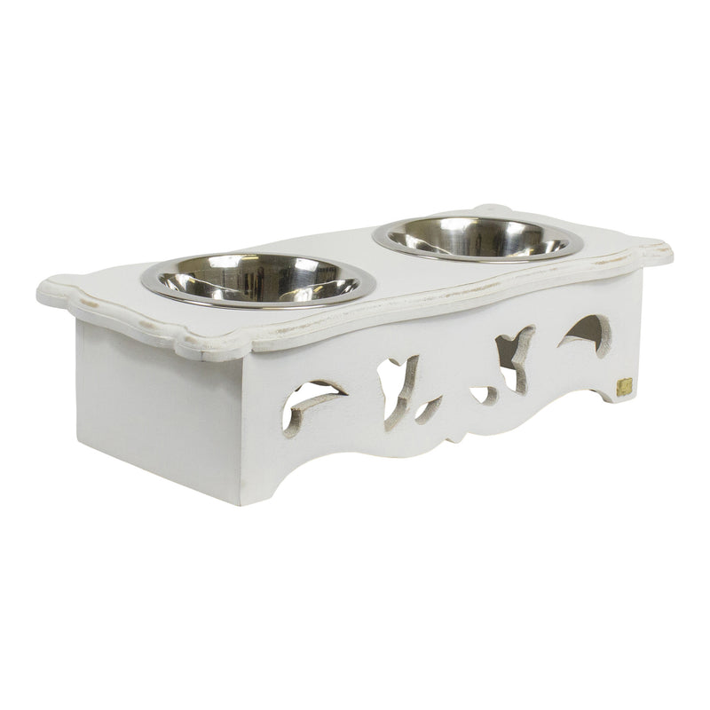Bulldog Pet Feeder in Shabby White