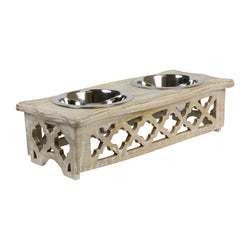 Labrador Pet Feeder in Whitewash