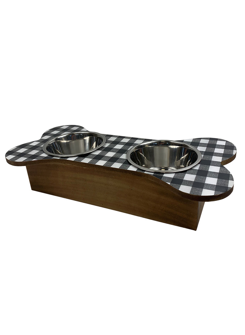Bone Shaped Pet Feeder in Black/White Buffalo Plaid