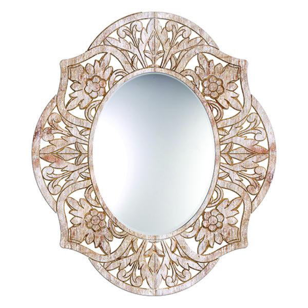 Adrienne Oval Mirror in Whitewash