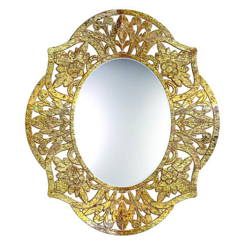 Adrienne Oval Mirror in Gold over Natural