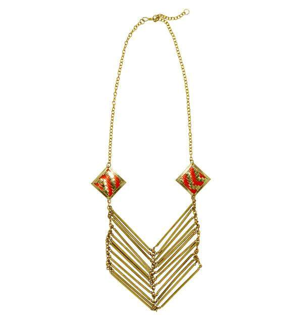 Lolita Necklace in Coral & Gold