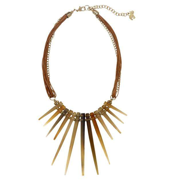 Barcelona Spike Necklace in Leather & Horn