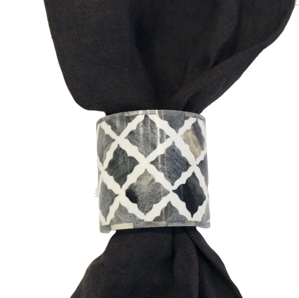 Fantasy Napkin Ring in Grey & White, Set of 4
