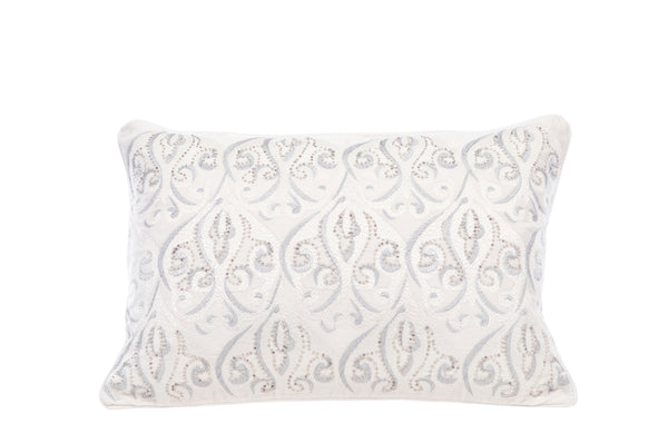 Hanging Gardens Silver Embroidered Pillow