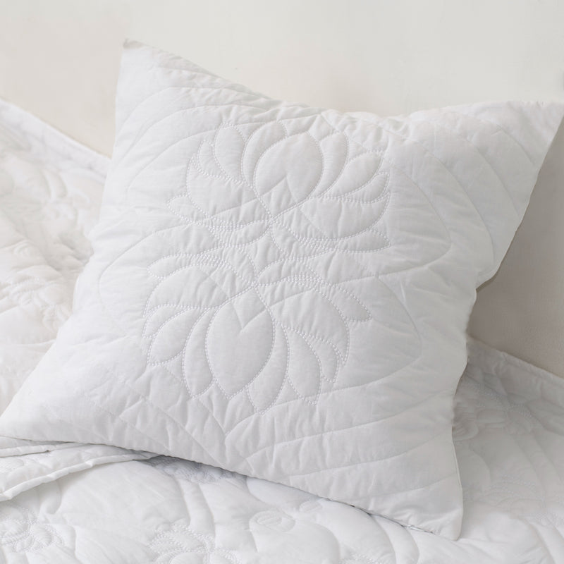 Heritage Refined Quilted Pillow with Lotus Motif in White