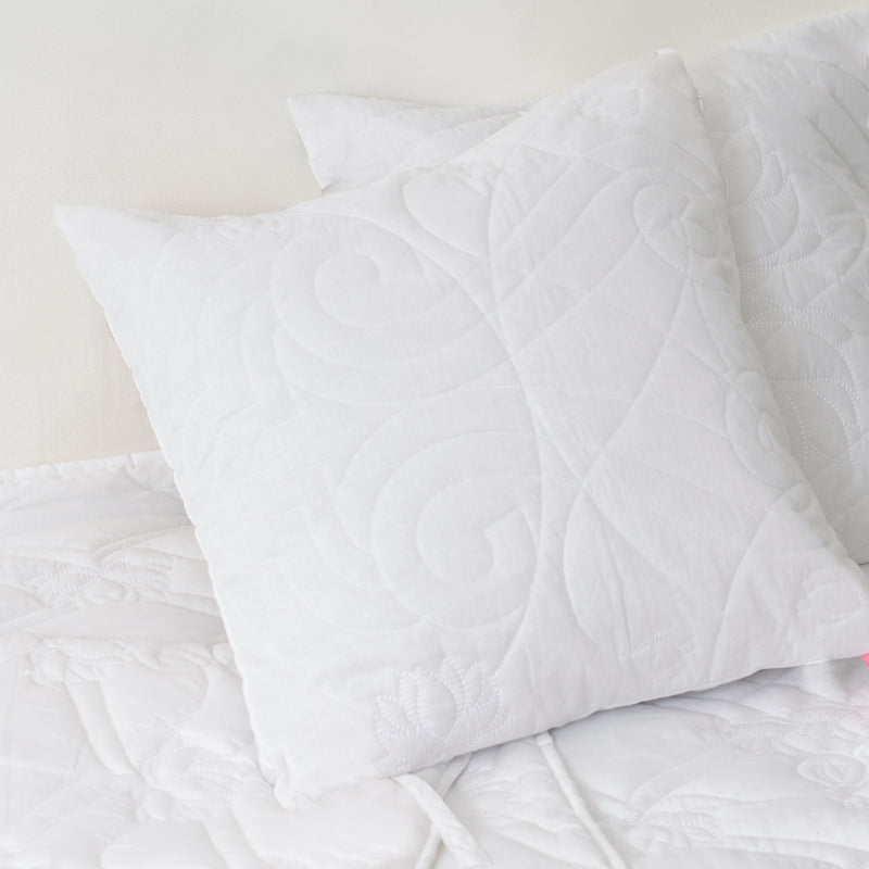 Heritage Refined Quilted Pillow with Jharokha Motif in White