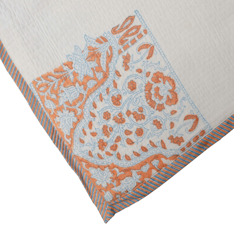 Native Narrative Border Pattern Jacquard Pillow in Off White with Coral & Ash Blue