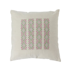 Native Narrative Rectangular Bars Woven Pillow in Off White & Multi