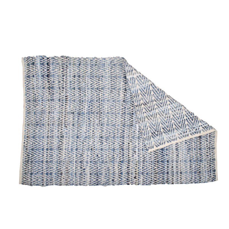 Native Narrative Chindi Denim Chevron Rug in White & Indigo