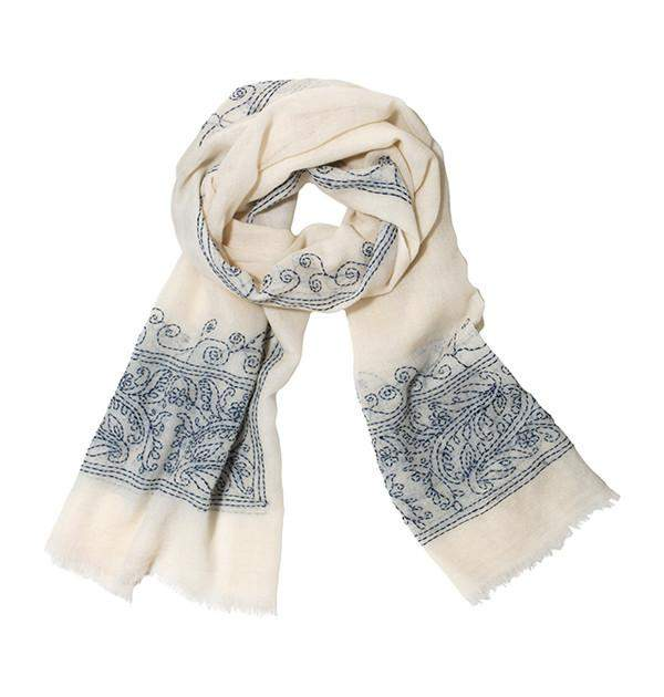Lily Scarf in White & Blue