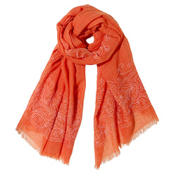 Hibiscus Scarf in Orange