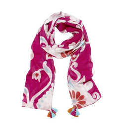 Ikat Damask Scarf in Pink