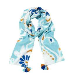 Ikat Damask Scarf in Blue