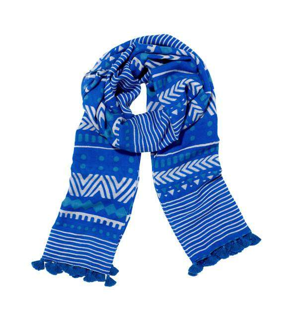 Orissa Scarf in Blue & White