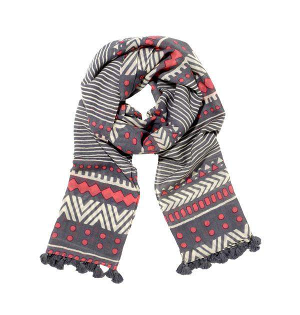 Orissa Scarf in Grey, Red & White
