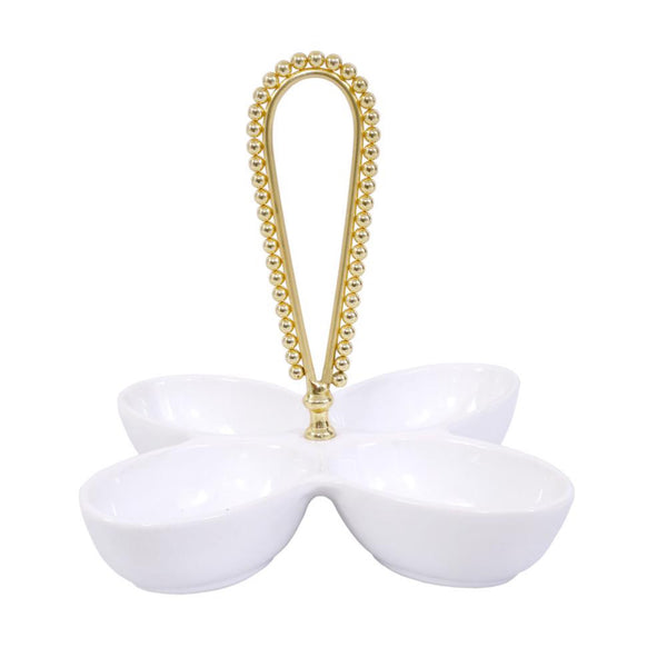 Raj Palace Nut Dish in White & Gold