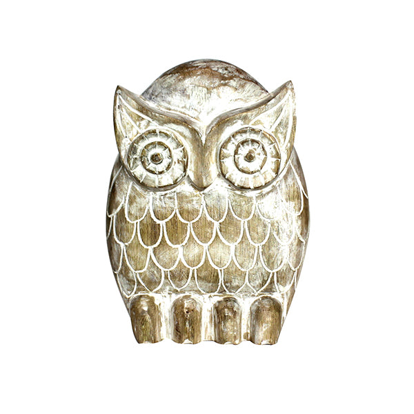 Owl Figurine in Light Whitewash