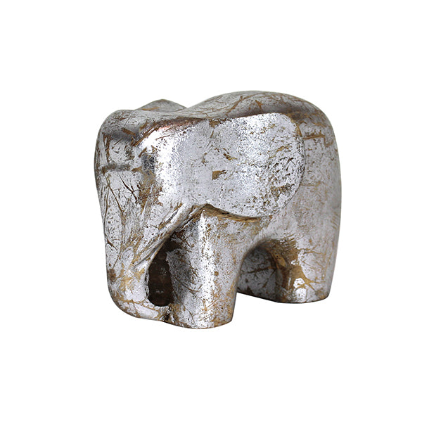 Elephant Figurine in Distressed Silver