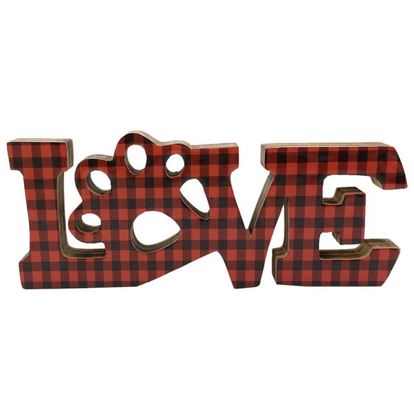 Plaid LOVE with Paw in Black & Red