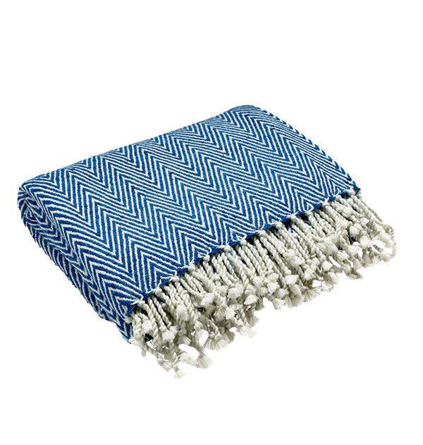 Caress Silk Throw in Blue & White