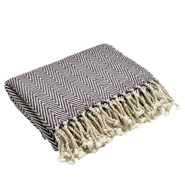 Caress Silk Throw in Grey & White
