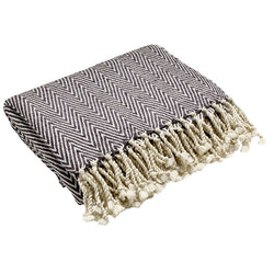 Herringbone Throw in Grey & White