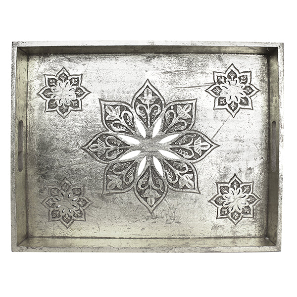 Serena Tray Large in Distressed Silver