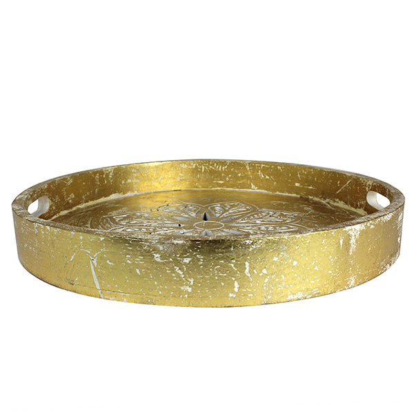 Serena Round Tray Small in Gold over White