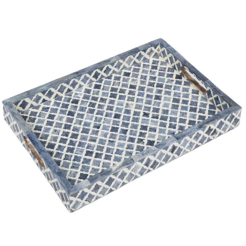 Fantasy Tray in Indigo & White, Small