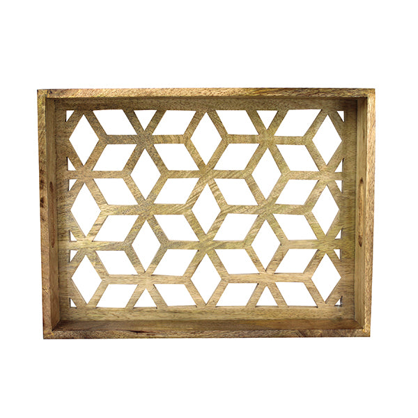 Star Lattice Cut-Base Tray Large in Natural