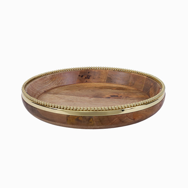 Raj Palace Round Tray in Natural & Gold